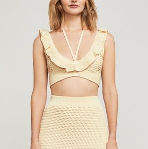 BCBGMAXAZRIA Corozo Crochet Crop Top Tan Cream